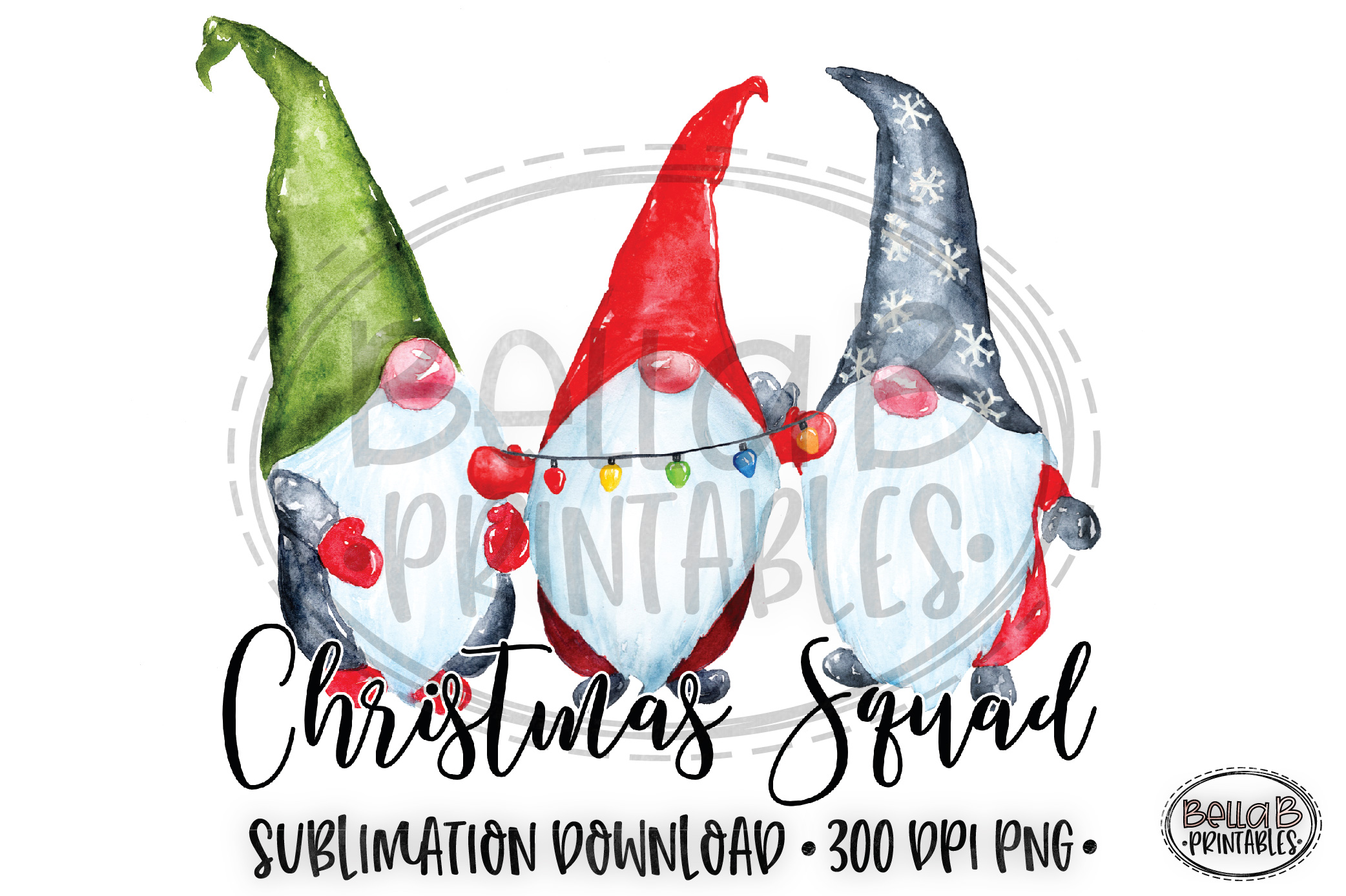 Christmas Sublimation Design, Christmas Squad, Gnomes example image 1