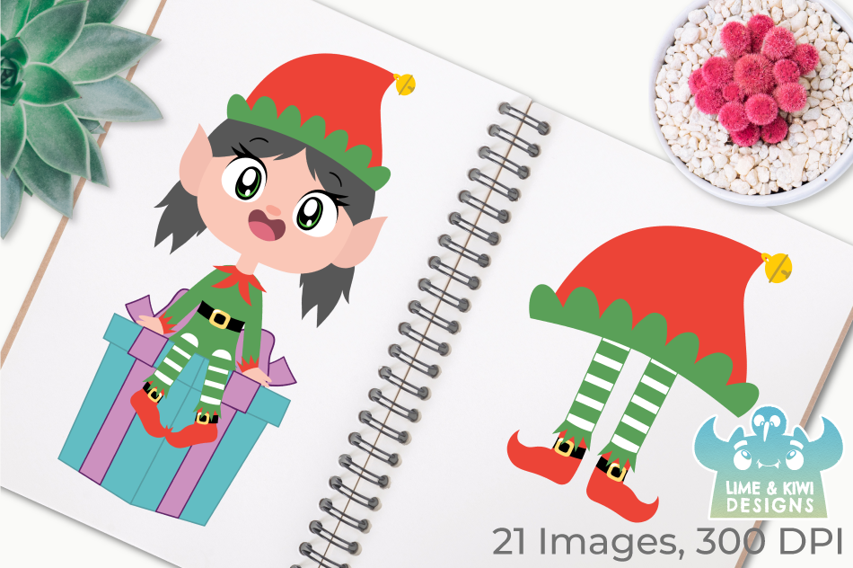 Christmas Elves Girls Clipart, Instant Download Vector Art example image 3