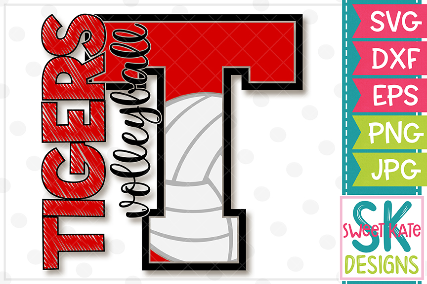 T Tigers Volleyball SVG DXF EPS PNG JPG example image 4