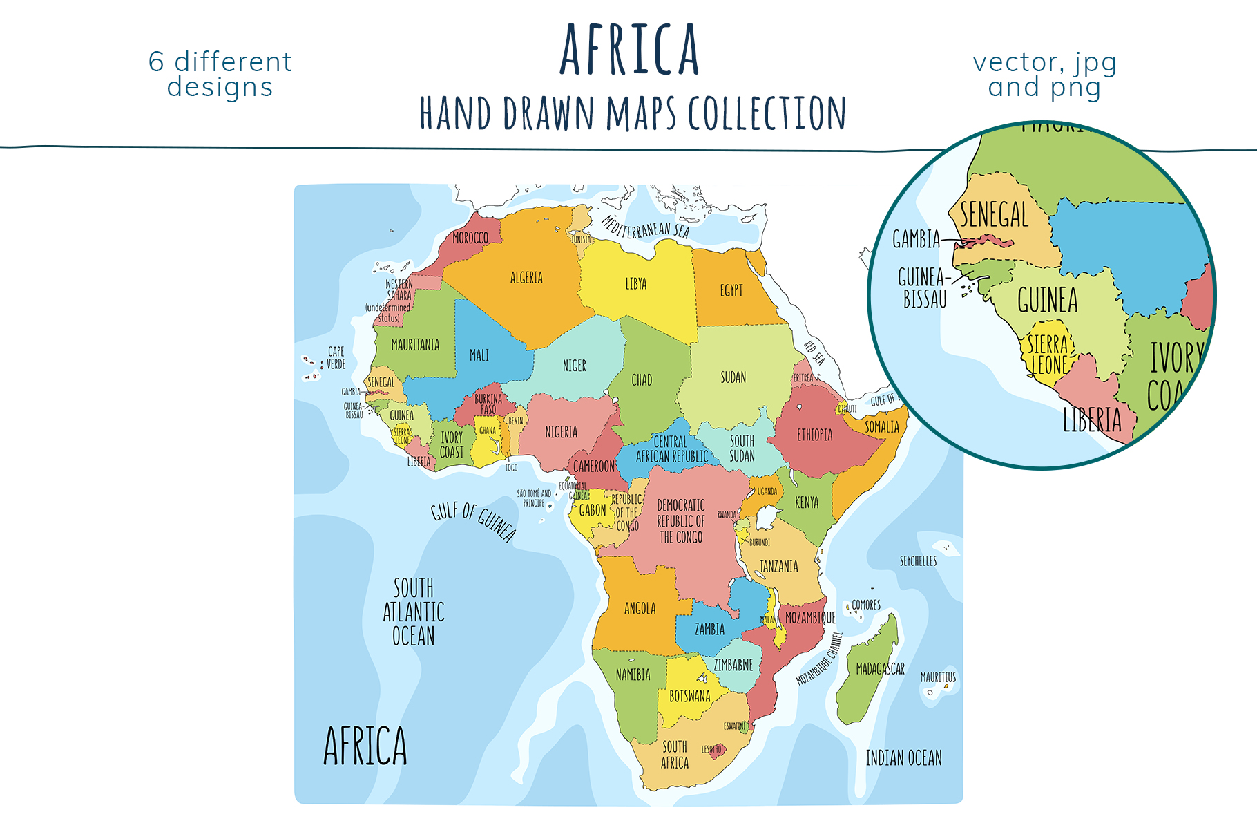 Maps of Africa. Hand drawn collection example image 3