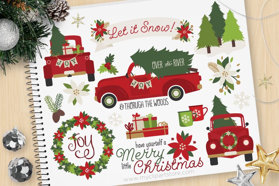 Vintage Red Christmas Truck Clipart - Vector Clip Art & SVG example image 1