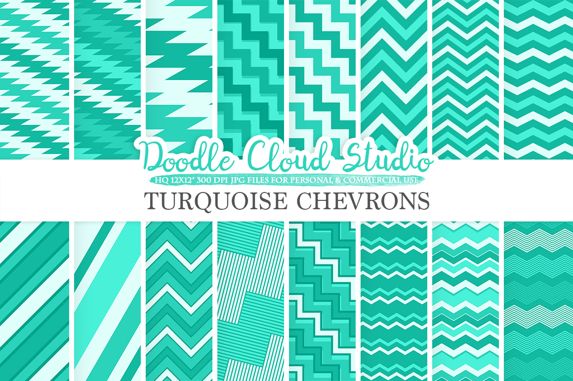 Aqua Chevron digital paper, Chevron and Stripes Turquoise pattern, Zig Zag lines background, Instant Download for Personal & Commercial Use example image 1