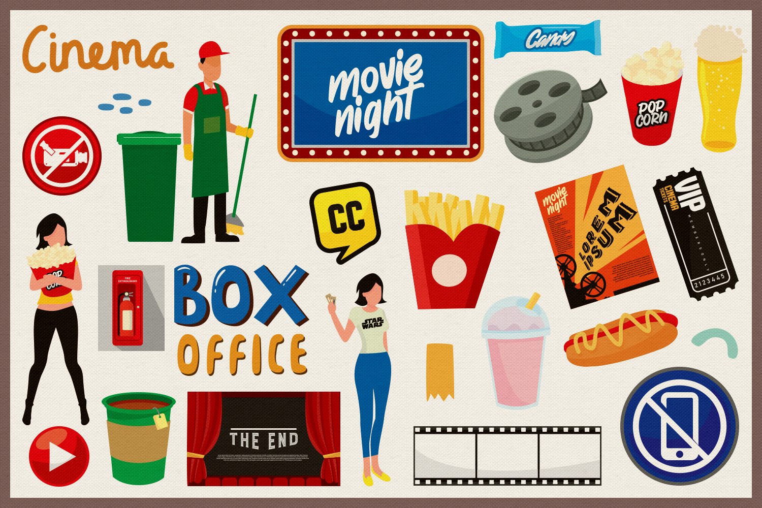 Movie & Cinema Vector Clipart and Seamless Patterns example image 3