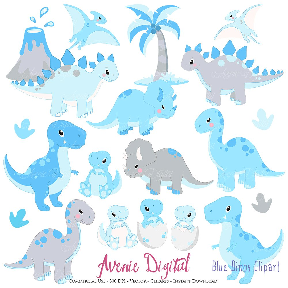 Cute Blue Dinosaur Clipart and Vectors example image 1