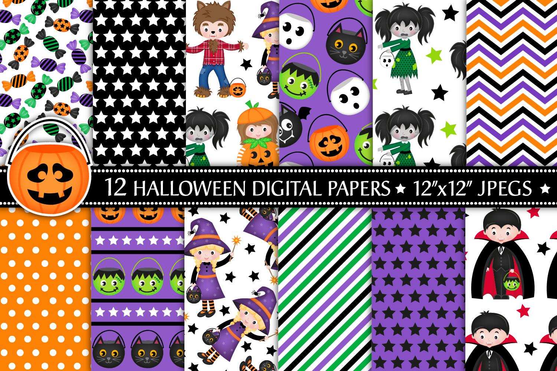 Halloween digital papers, Halloween patterns, scrapbooking example image 1
