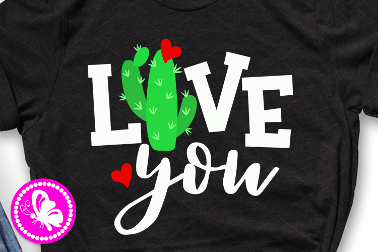 Valentine's day svg file Love you sign Cactus print Heart example image 1