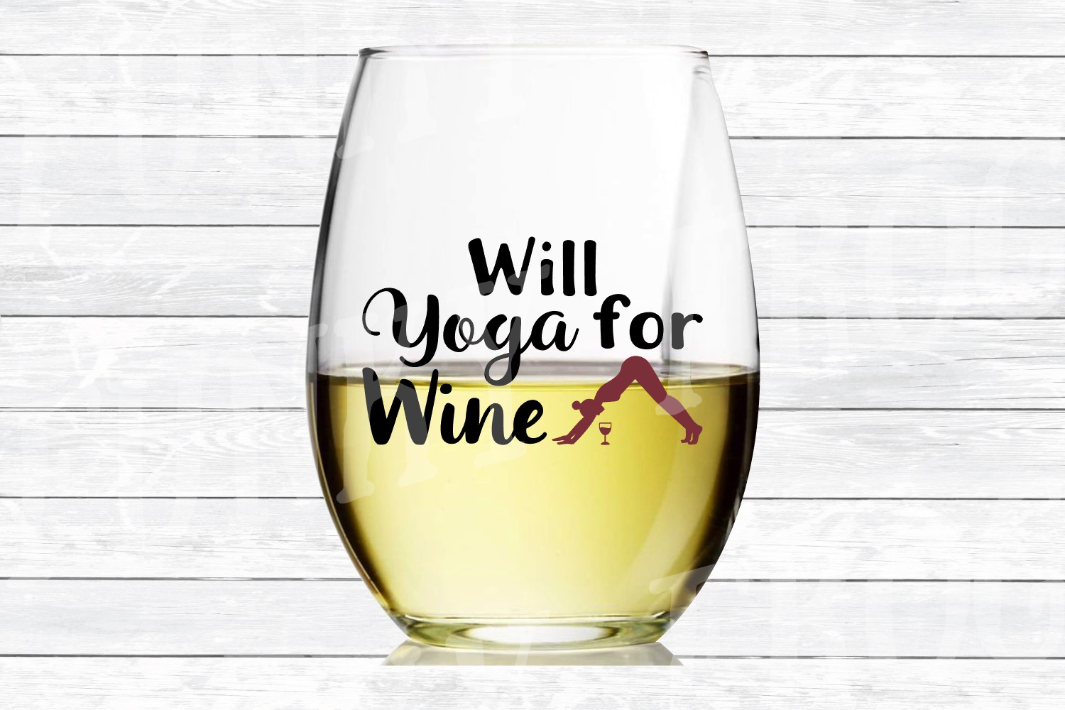 Will Yoga for Wine - SVG Cut File for Crafters example image 2