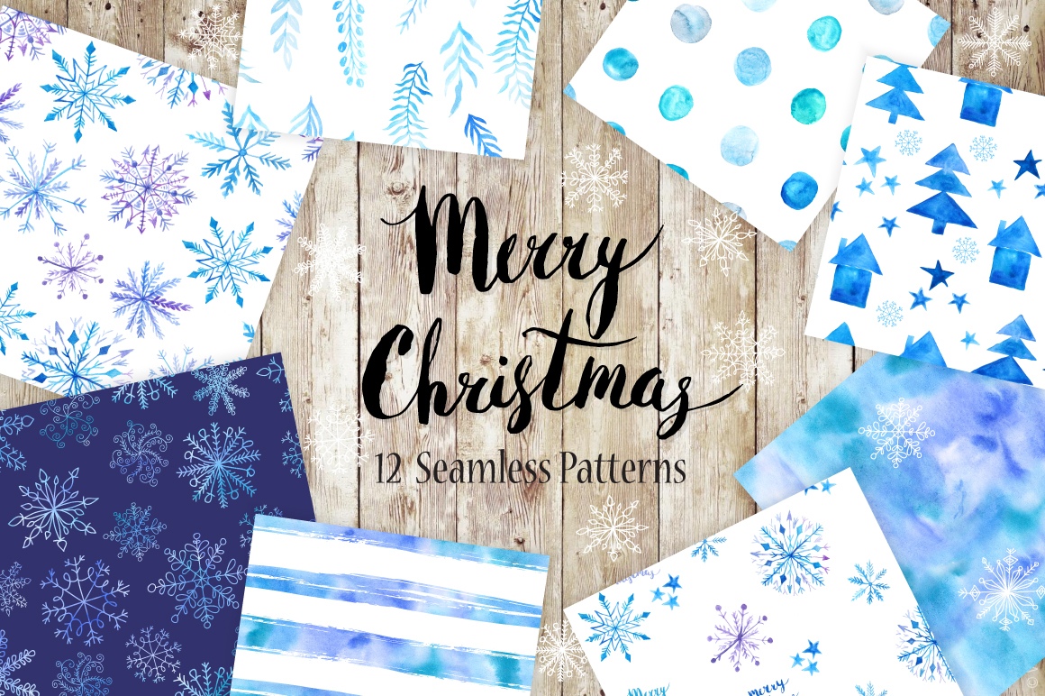 Watercolor Christmas Snow Patterns example image 1