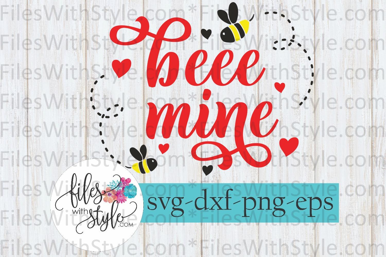 Bee Mine Valentine Valentine's Day SVG Cutting Files example image 1