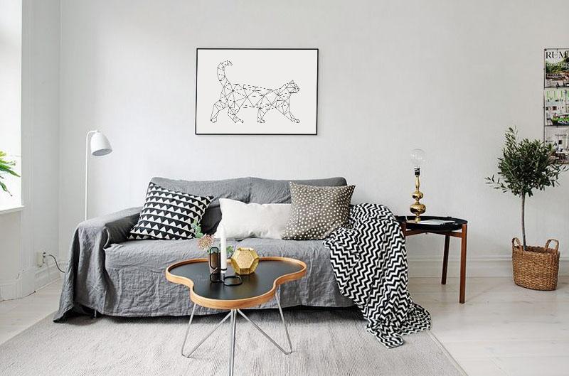 Geometric Cat Print, Minimalist Wall Art Download example image 5