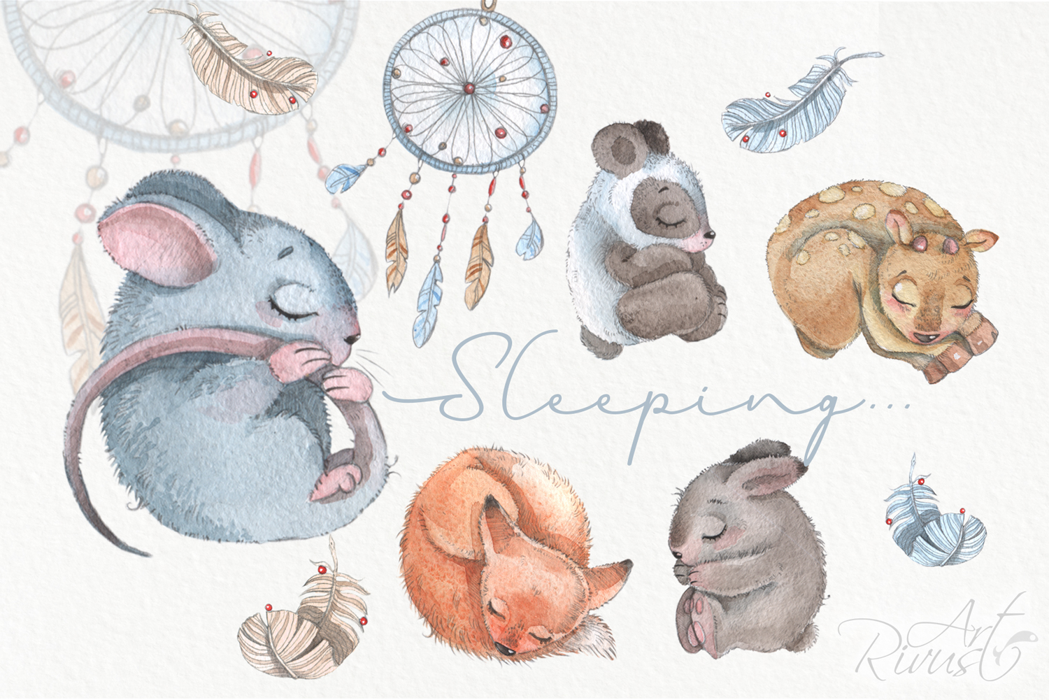 Cute sleeping baby animals watercolor clipart kit example image 5