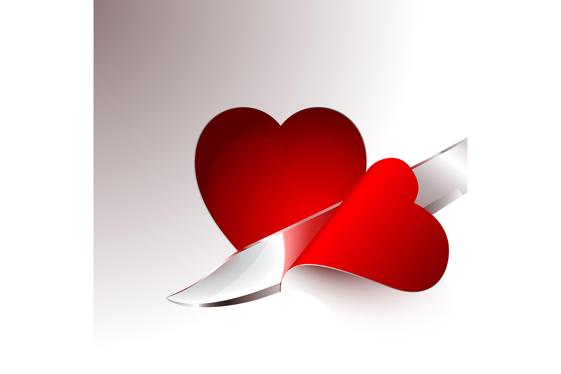 Vector Cut a slice of red heart example image 1