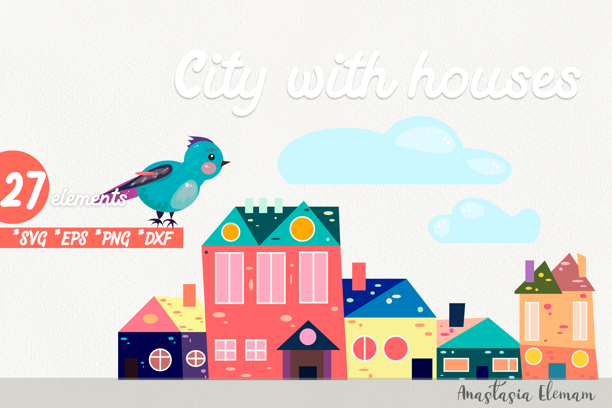 Town buildings with surrouding elements vector clipart set example image 2
