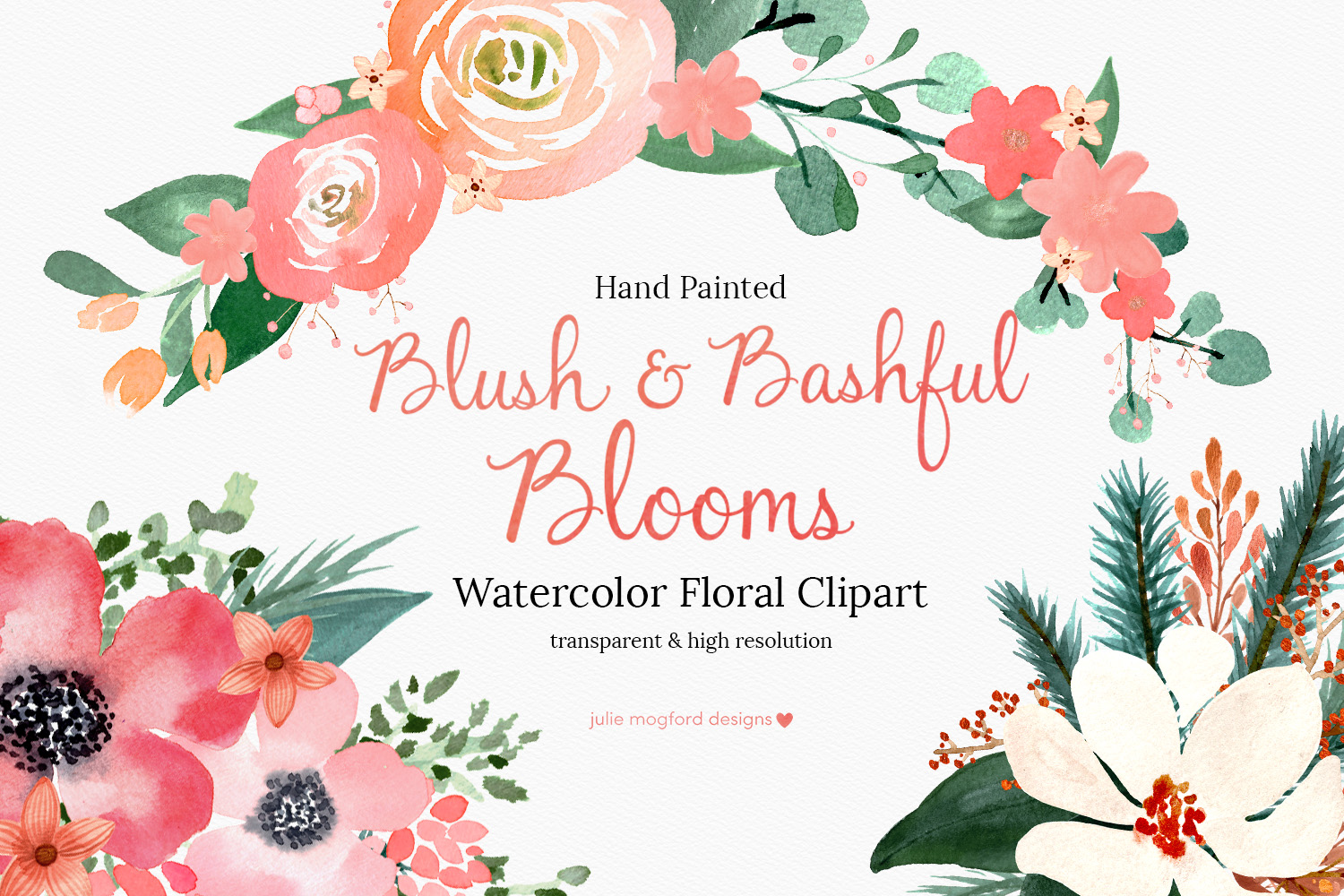 Blush & Bashful Blooms - Watercolor Floral Clipart example image 1