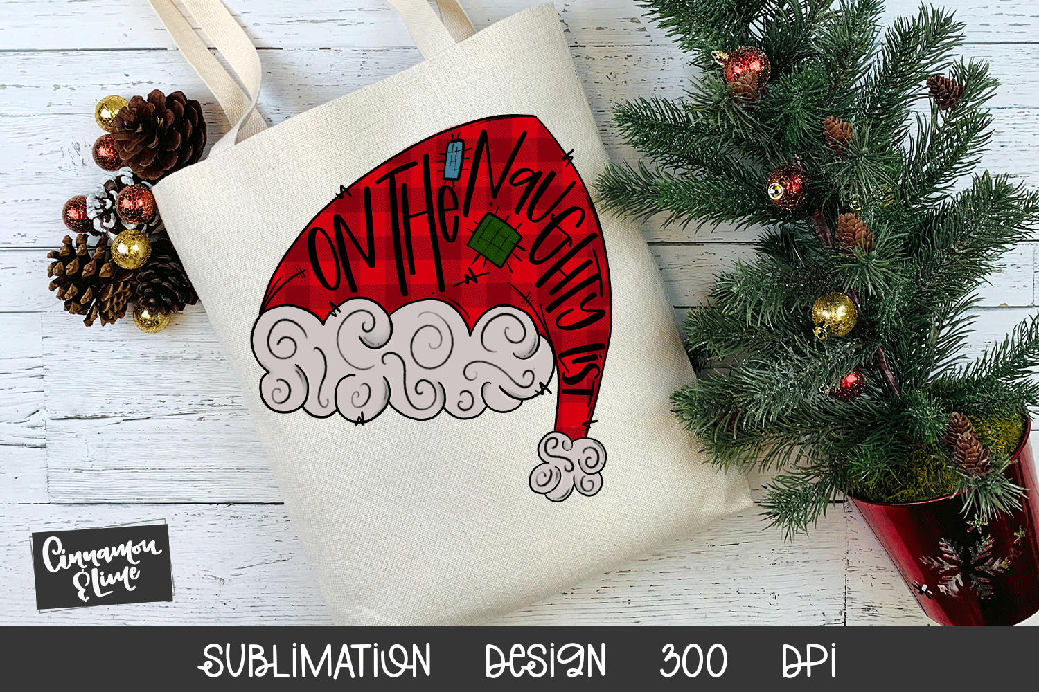 Santa Hat Sublimation Design - On The Naughty List example image 2