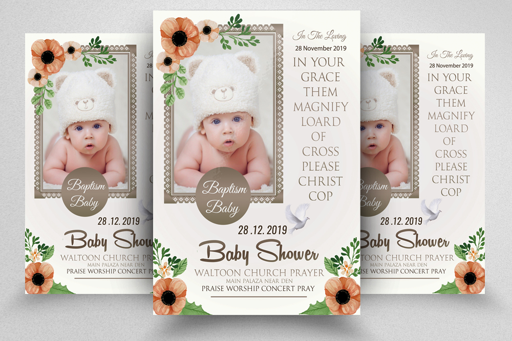 Baby Shower Invitation Flyer Template example image 1