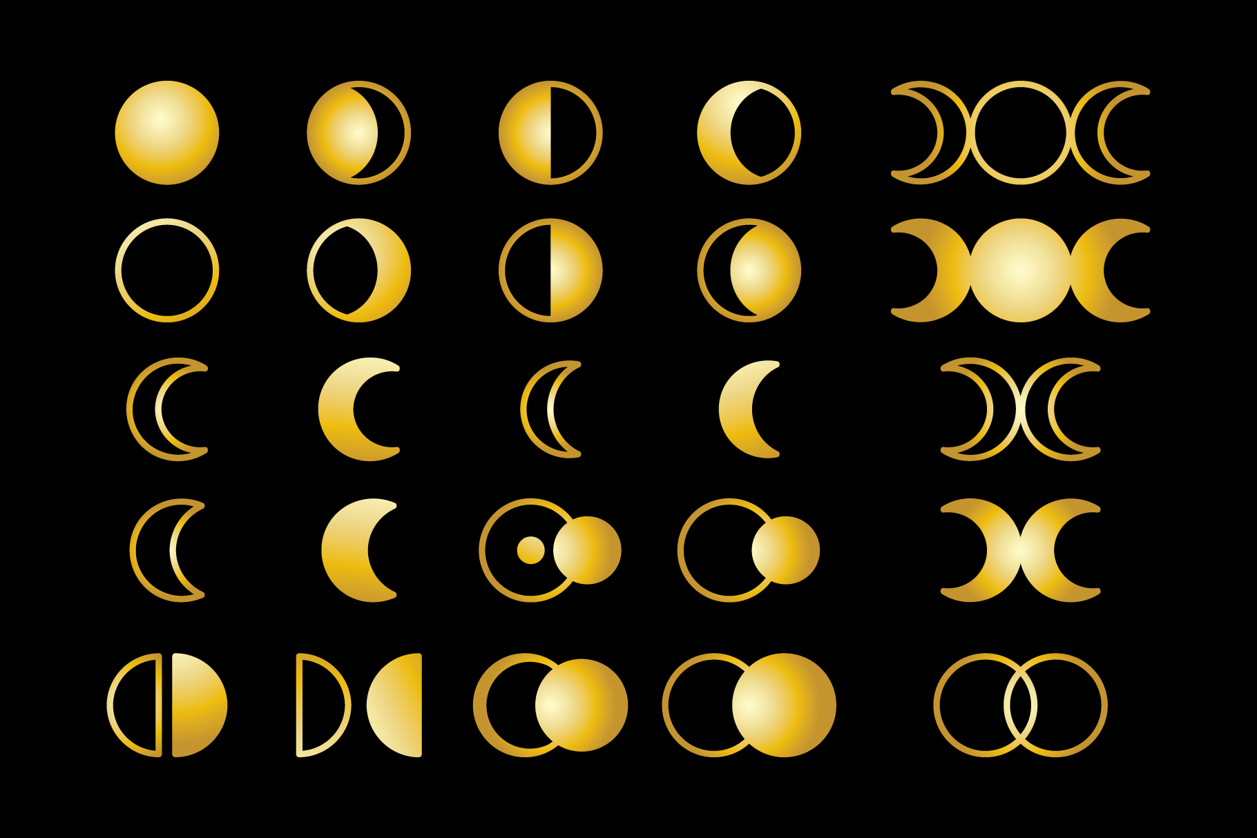 Moon Cycle Icons Clip Art Set example image 3