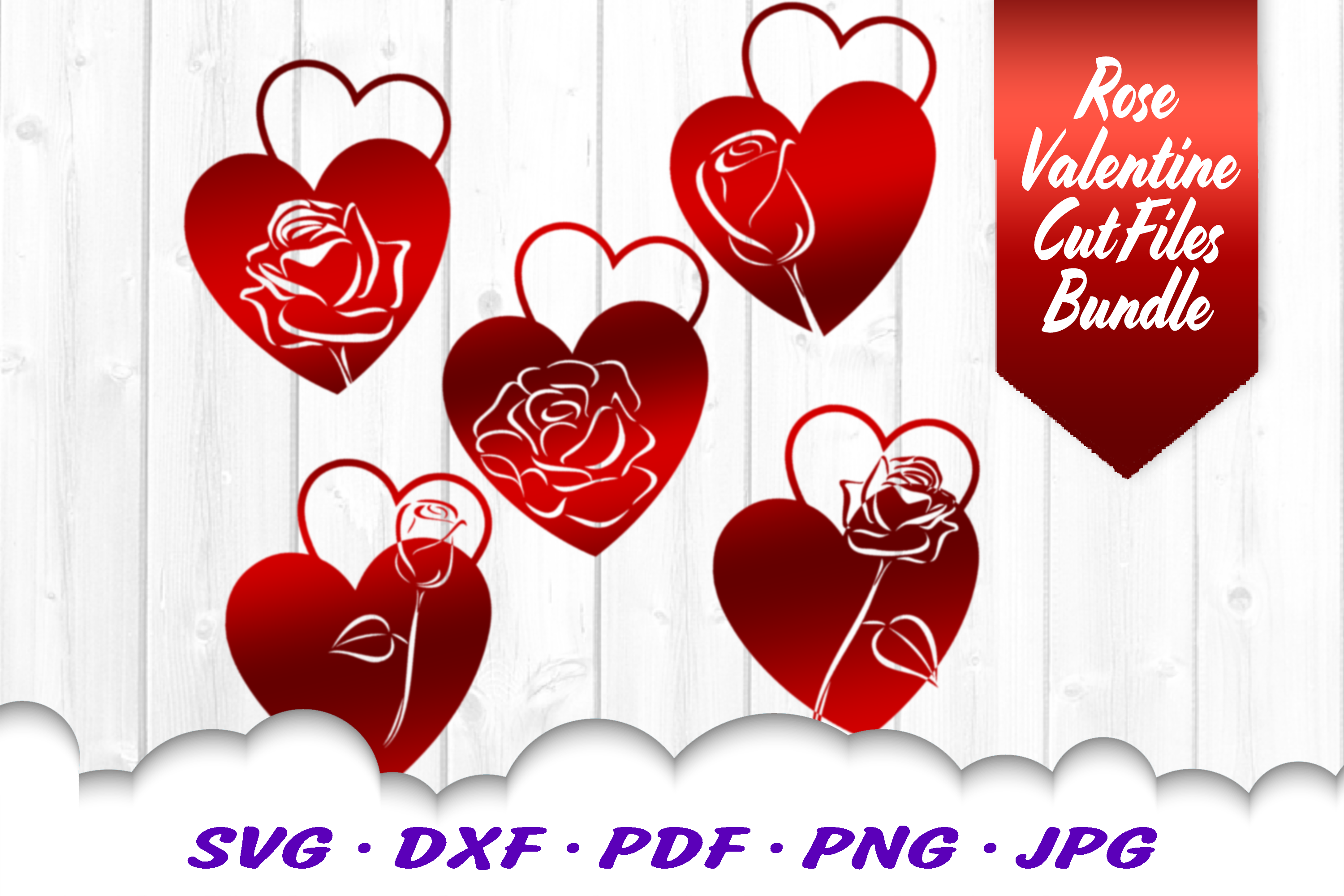 Valentines Day Rose Hearts SVG DXF Cut Files Bundle example image 1