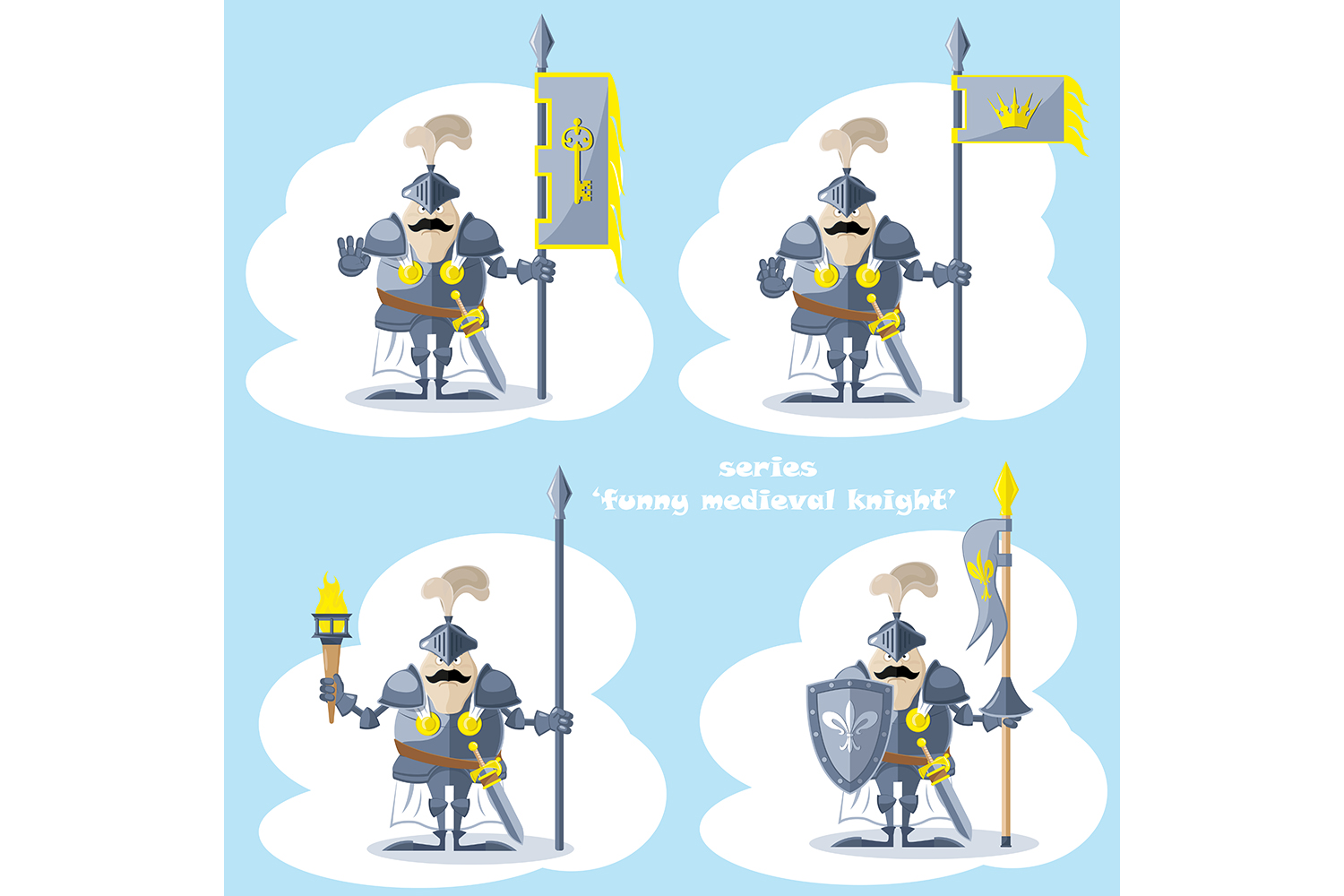 Set of 20 figure funny medieval knight or soldier. Vector illustration example image 2