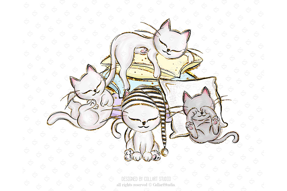 Kittens Clipart, Cute Cats Illustrations, Printable Graphics example image 4