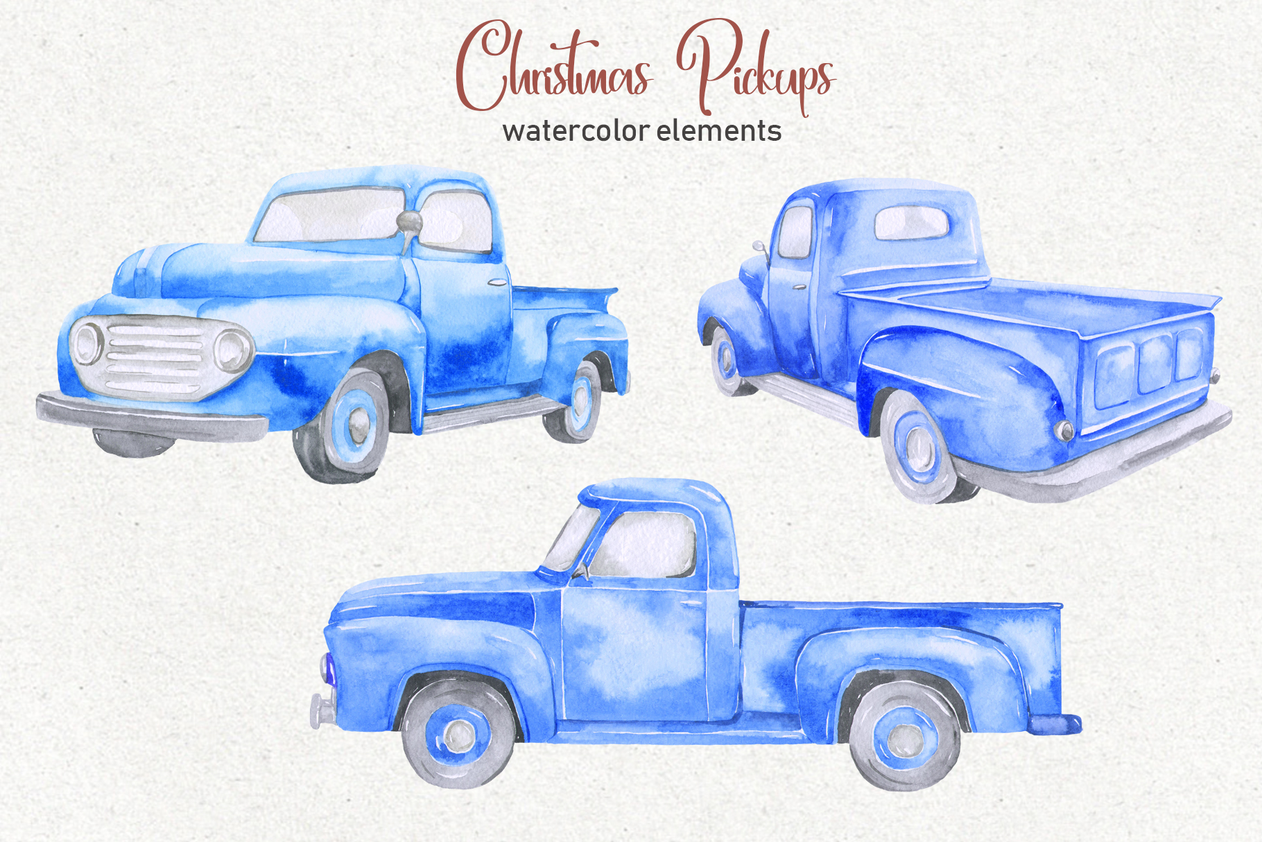 Christmas pickup Watercolor clipart and Christmas elements example image 3