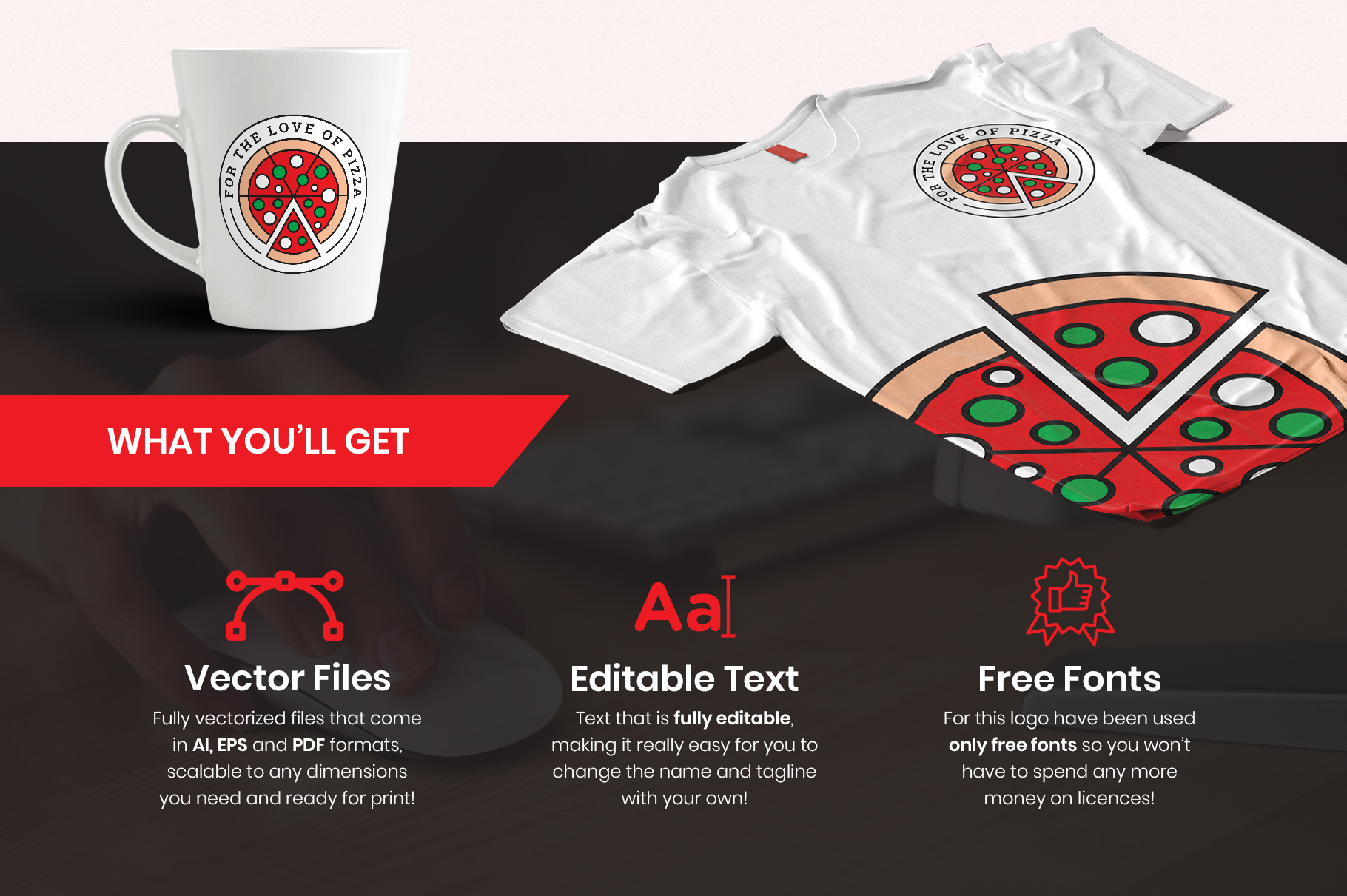 For the Love of Pizza Logo Template example image 1