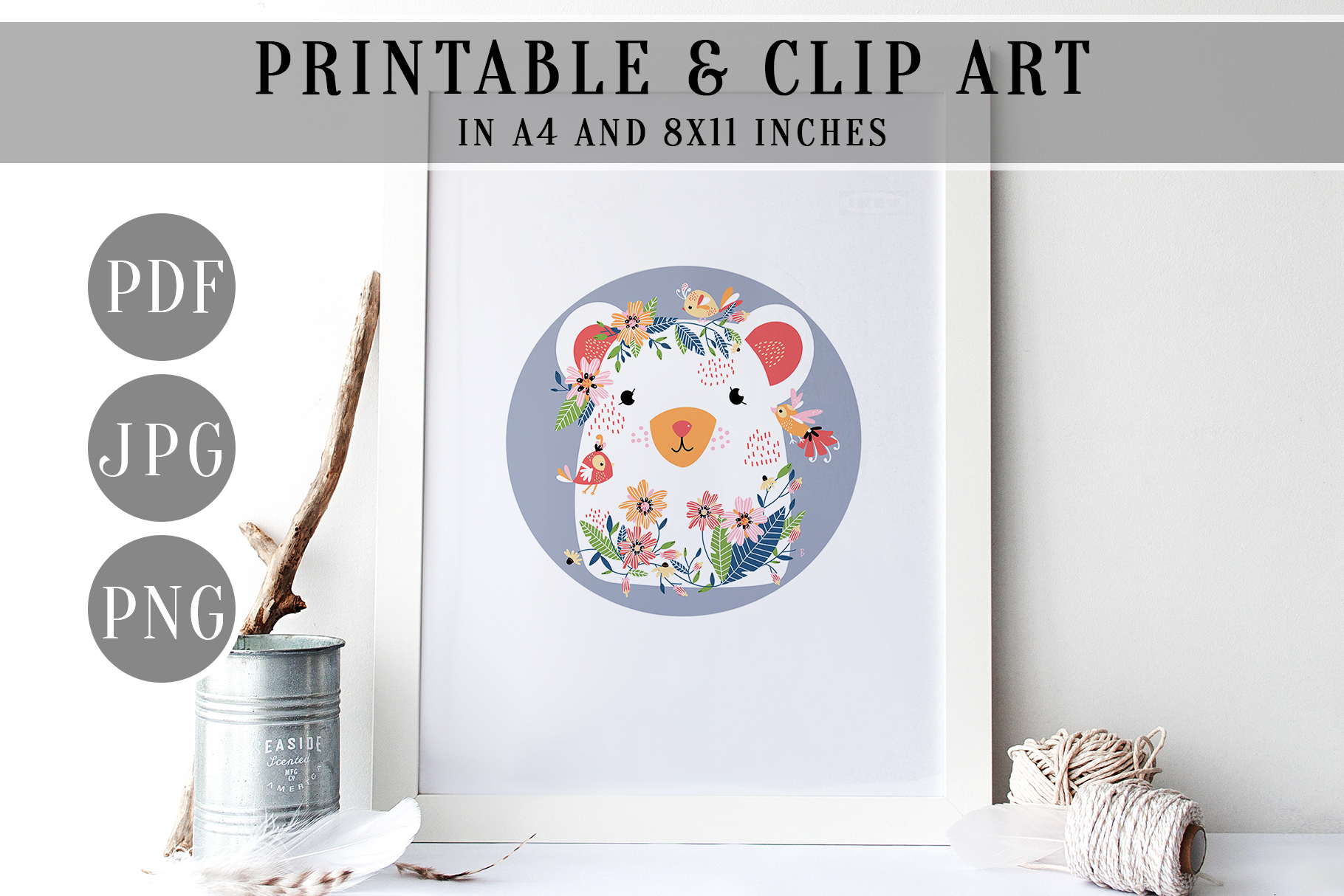 Woodland Bear Wall Art, Floral Forest Friend Clip Art, PDF example image 3