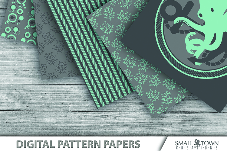 Octopus, Nautical, Ocean, pattern paper, PRINT, CUT & DESIGN example image 2