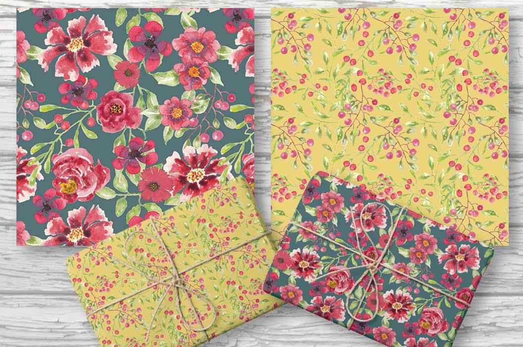 Watercolor clip art bundle: red berries 'n blooms example image 8