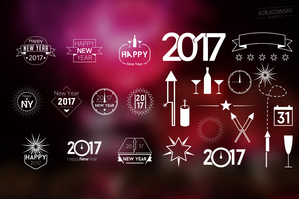 New Year 2017 Badges Logos example image 5