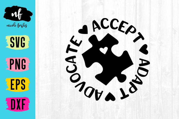 Accept Adapt Advocate Autism SVG Cut File example image 1