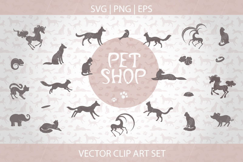 Animal silhouettes clipart, Pet patterns, SVG, EPS, PNG example image 2