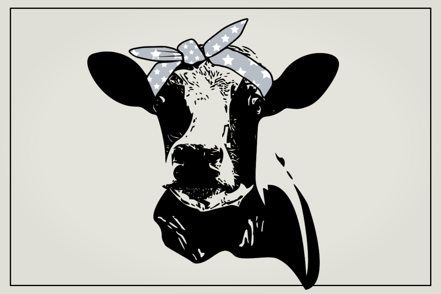 Cow with hair bandana, SVG file example image 1
