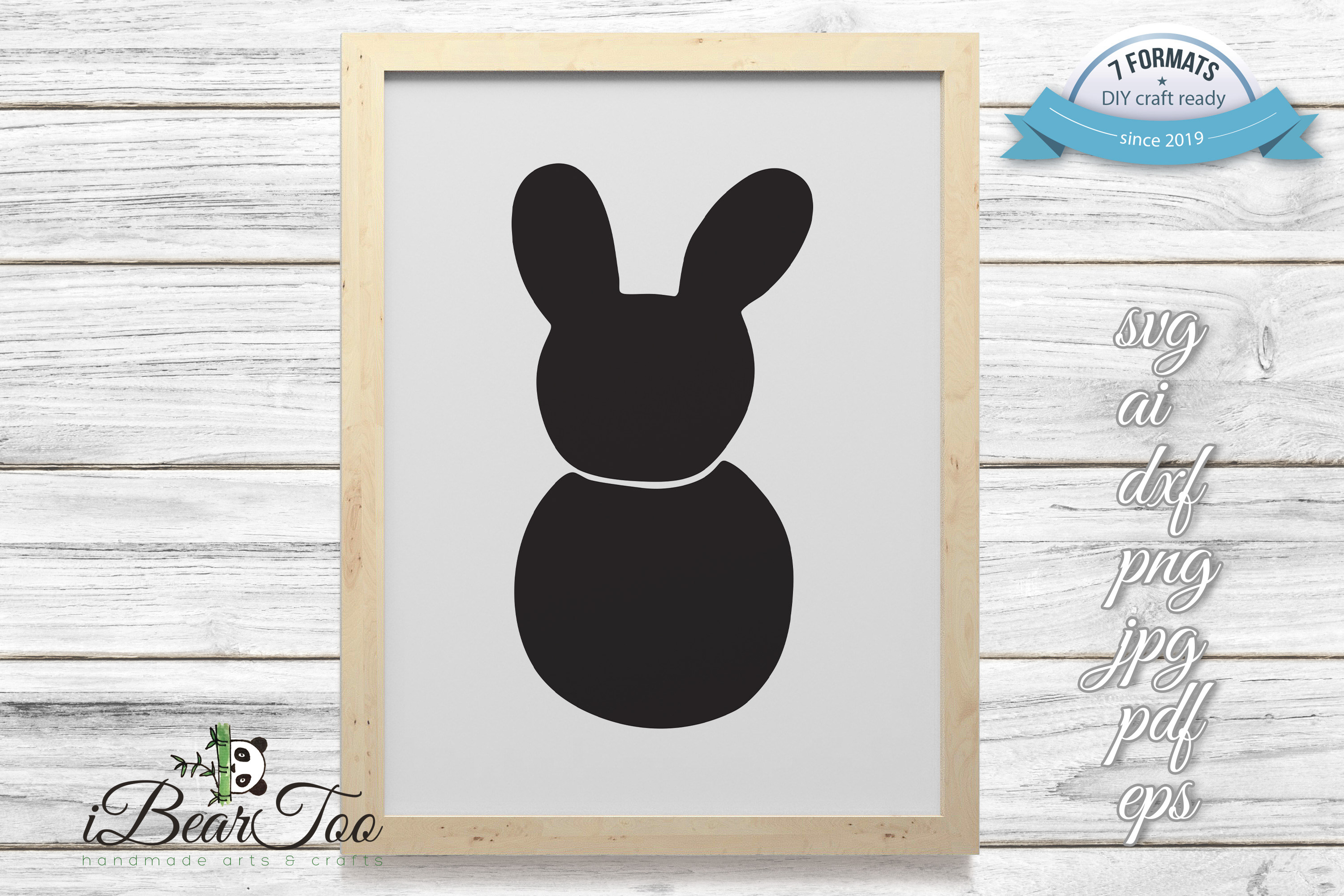 Bunny SVG Black Clipart Rabbit Drawing Vector Cut Files example image 11