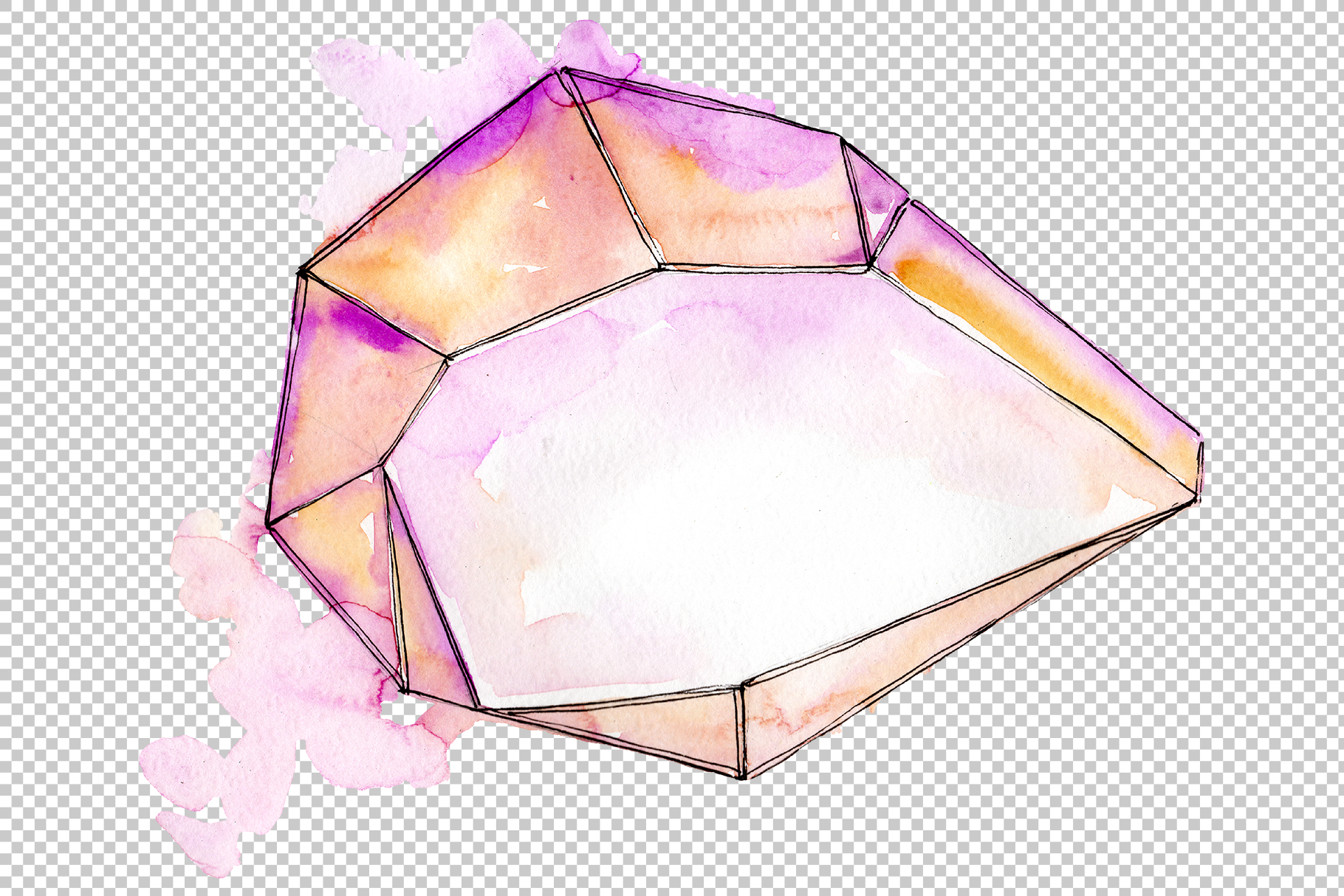 Aquamarine crystals Watercolor png example image 4