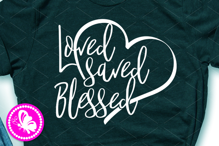 Loved saved Blessed svg Heart clip art Valentines day decor example image 1