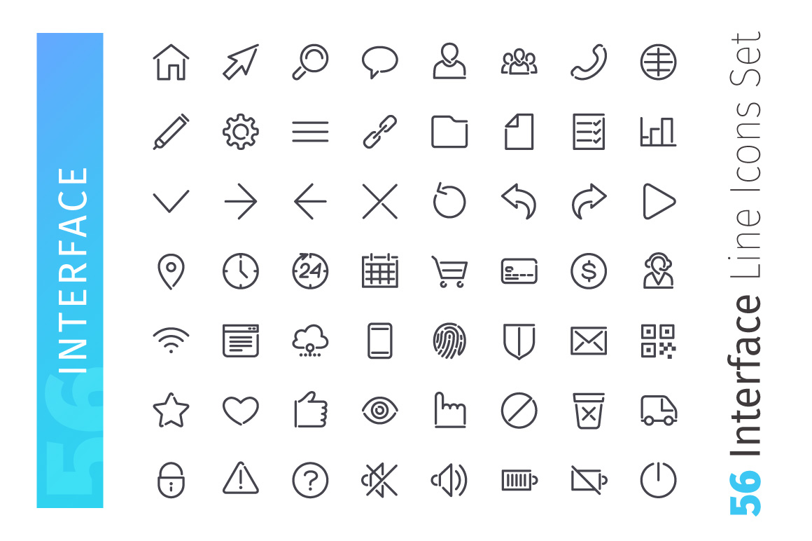Interface Line Icons Set example image 2