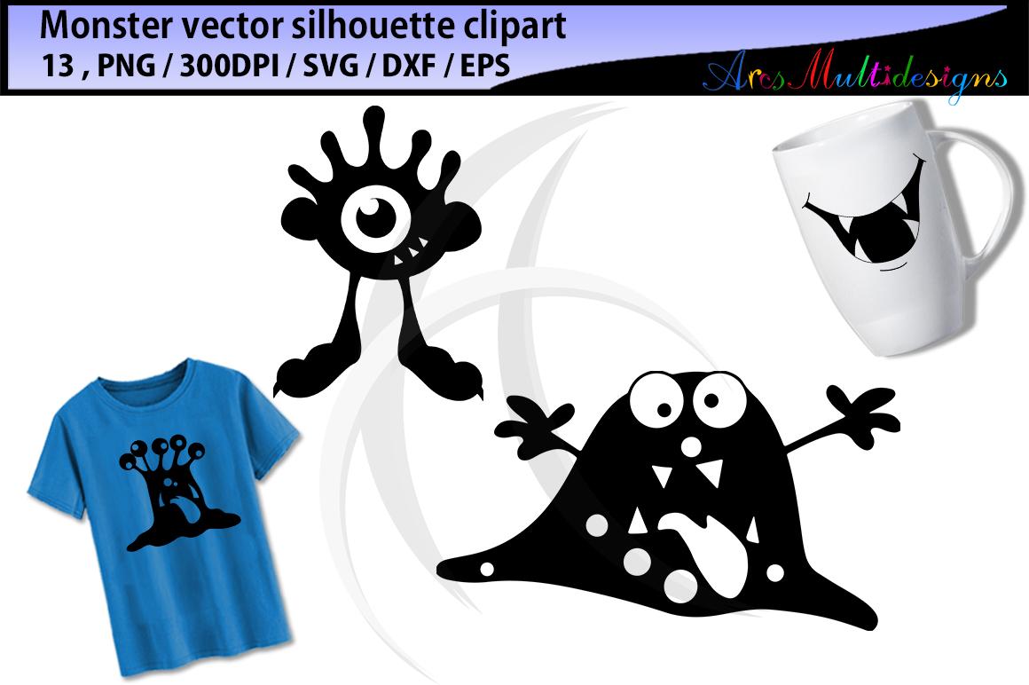 Monster silhouette clipart / cute monster SVG / monster svg vector/ monster SVG / Eps / Png / monster clip art / monster silhouette svg example image 2