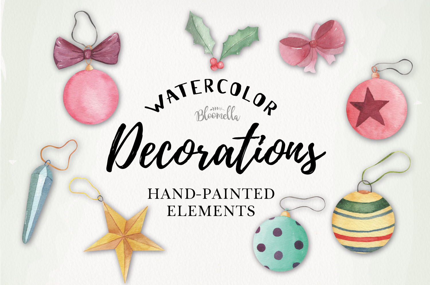 Decorations Holiday Watercolor 10 Elements Christmas Tree example image 1