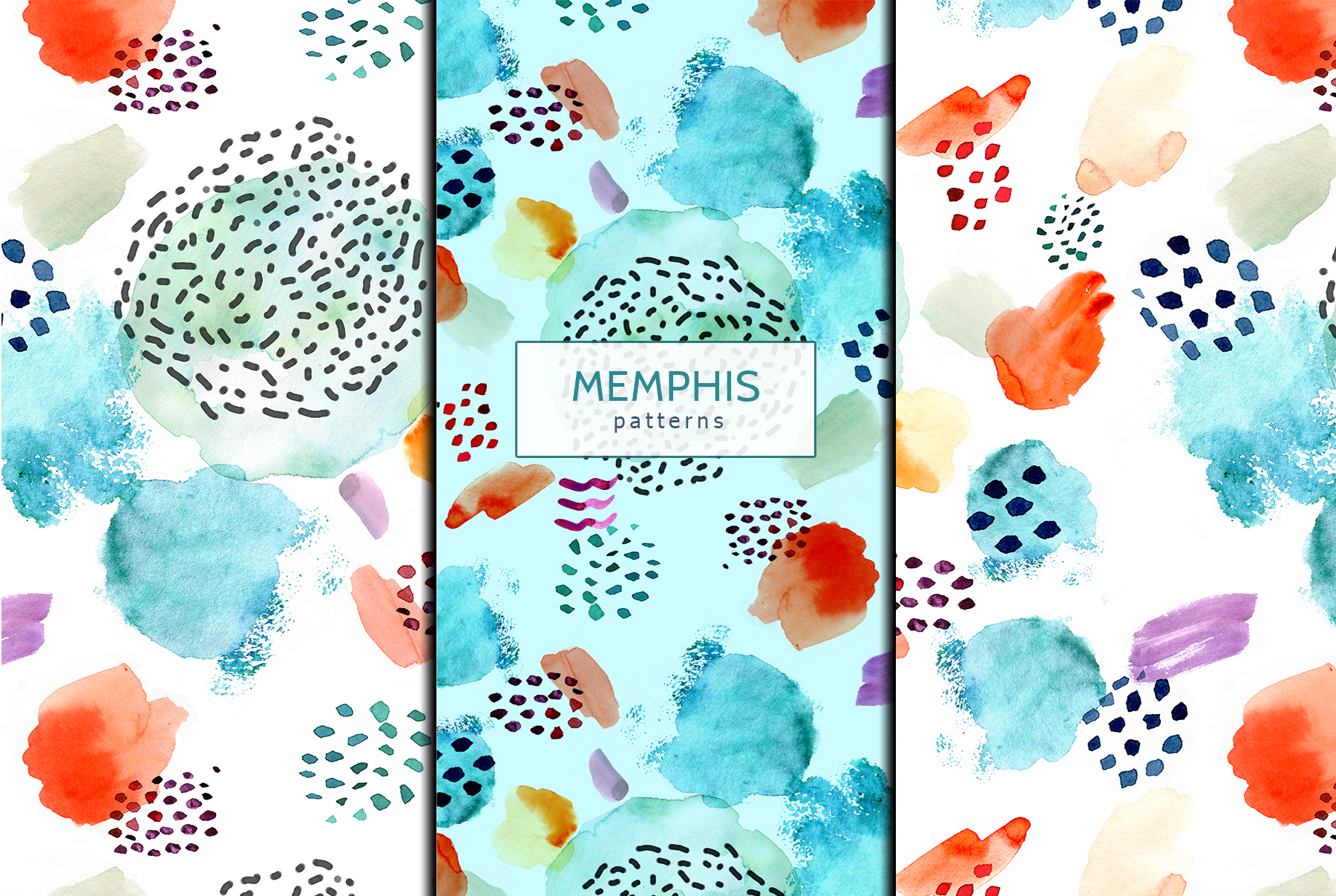 Watercolor memphis patterns & shapes example image 6