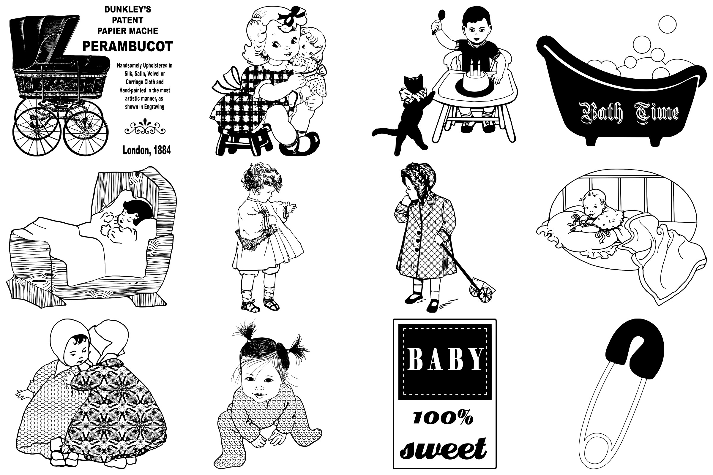 Vintage Babies, Toddles & Moms AI EPS PNG example image 2
