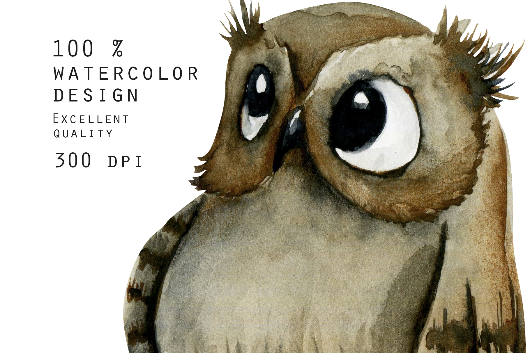 Foxes & Owls. Watercolor clipart. example image 11