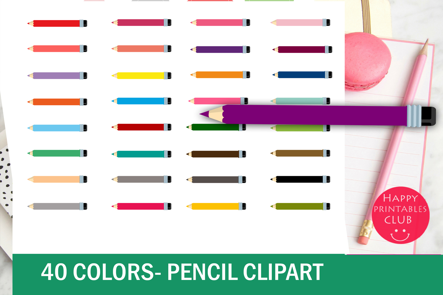 40 Colors Pencil Clipart example image 2