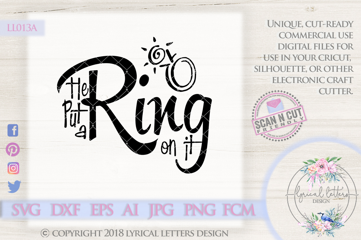 He Put a Ring On It Engagement SVG Cut File LL013 A  example image 1