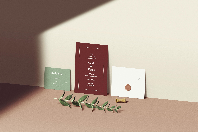 Wedding Invitation Set Mockup example image 6