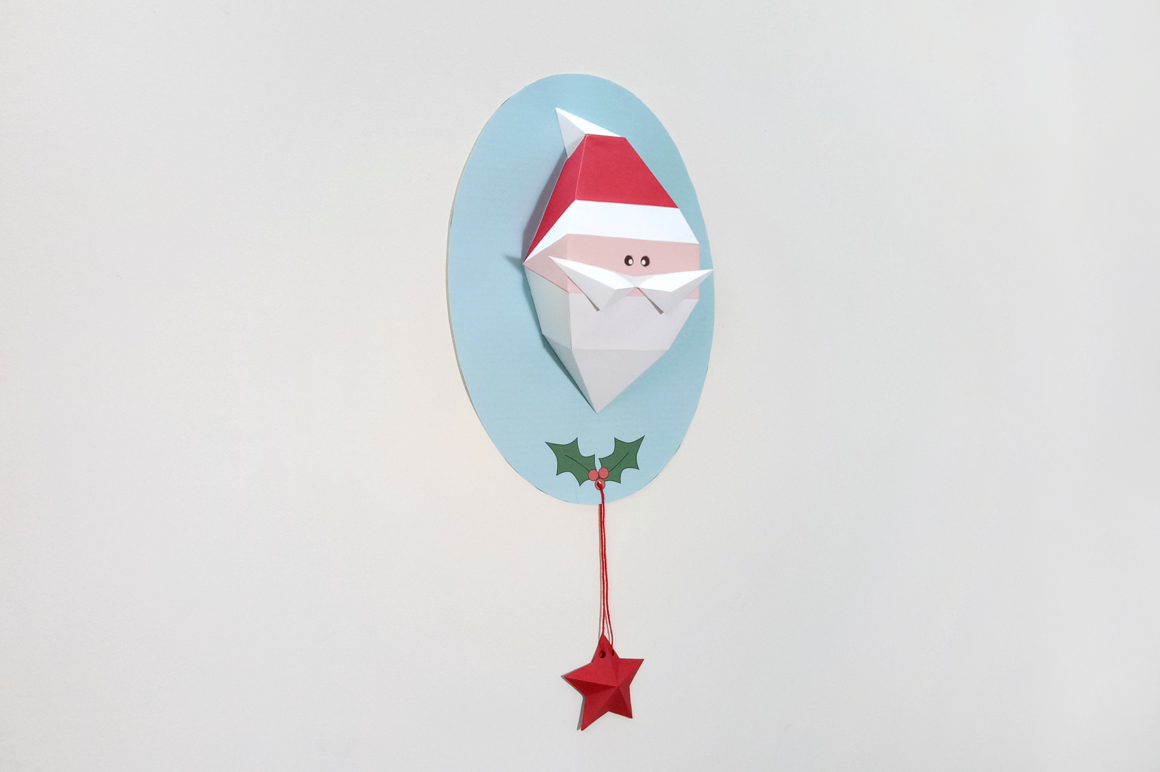DIY Santa Claus Trophy - 3d papercraft example image 1
