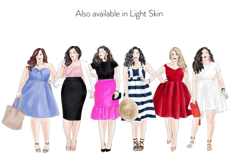 Fashion illustration clipart - Curvy Girls - Dark skin example image 3