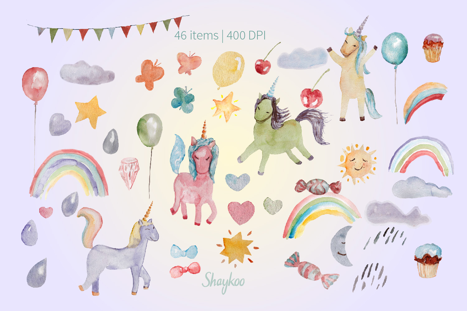 Unicorn Party Clipart, Watercolor Baby Unicorn Clipart example image 3