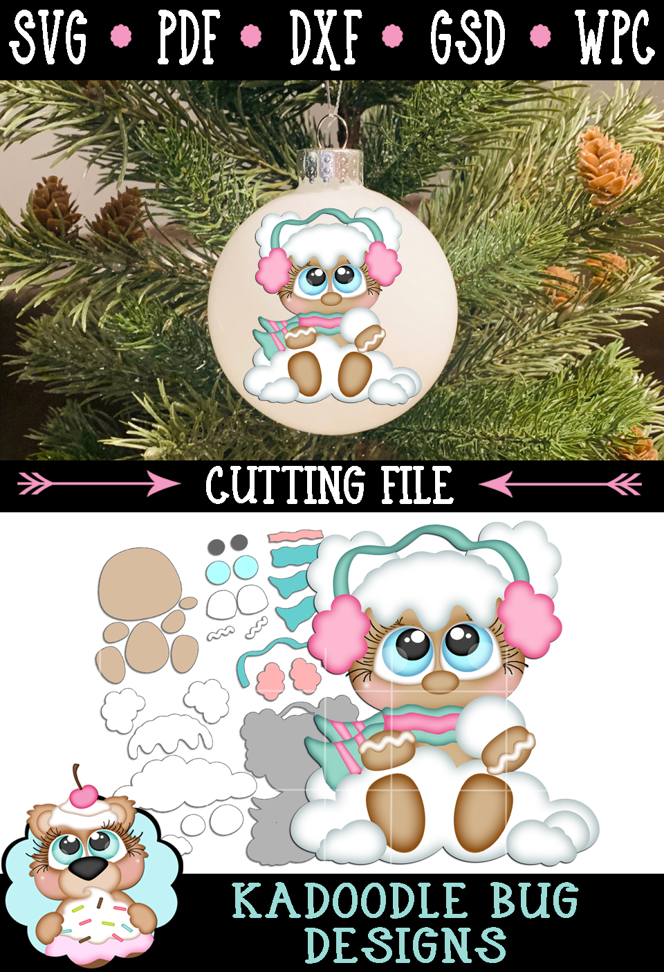 Snowball Ginger Cutie Cut File - SVG PDF DXF GSD WPC example image 2