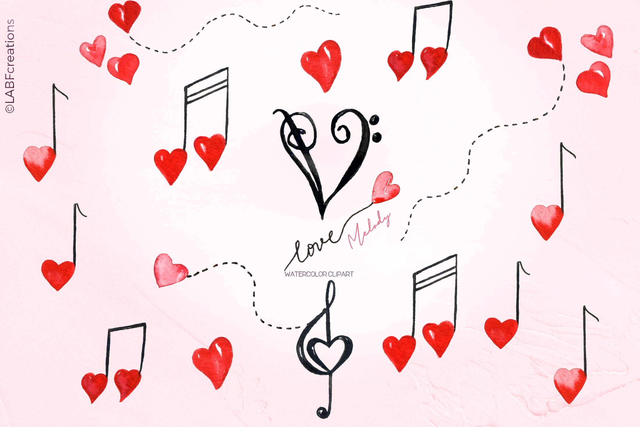 Love melody. Watercolor clipart example image 5